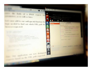 Ecrã a mostrar a utilização de Ubuntu